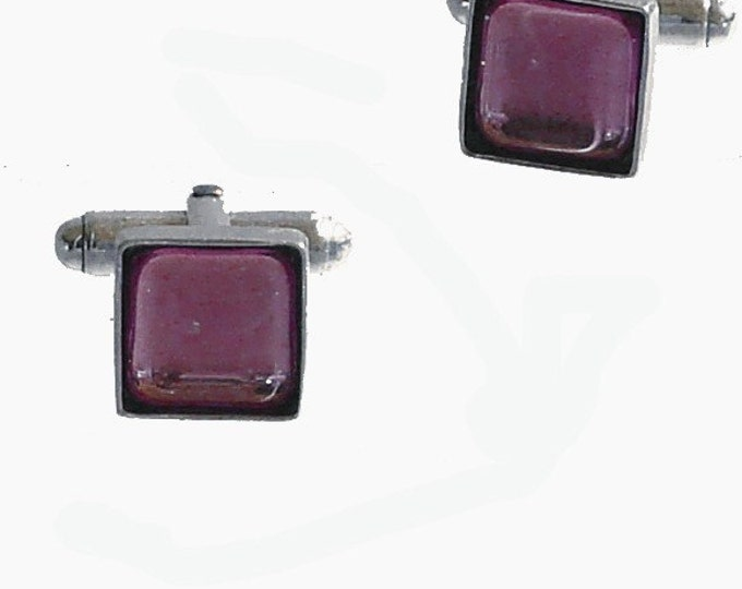 Square Glass and sterling silver cufflinks in purple fathers day groomsmen gifts