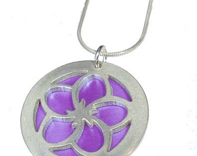 Cherry Blossom  pendant with Pink front and Purple back