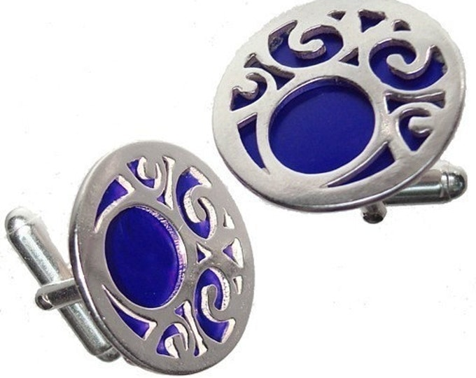 Birthdays, Graduate or Fathers Day Swirls Cuff links in Blue recycled aluminum