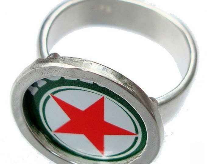 Heineken Bottle Cap\/ Sterling Silver Ring