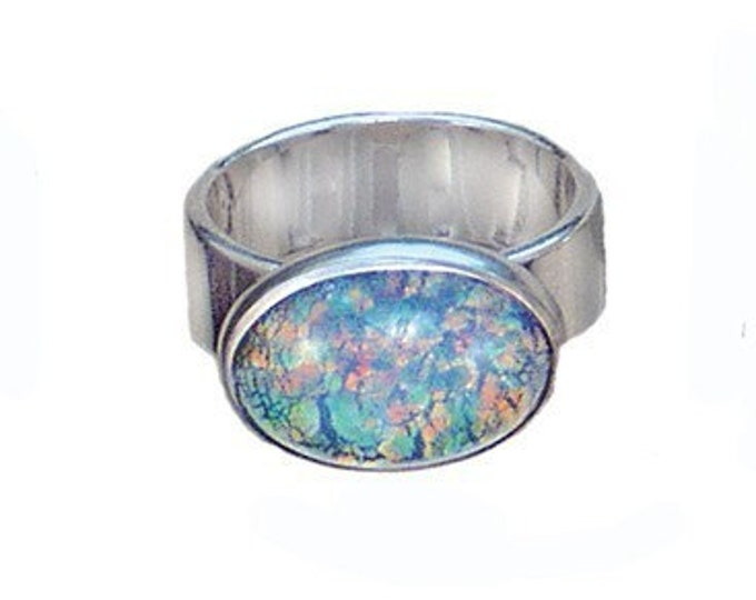 Fired glass/sterling silver large oval ring in blues