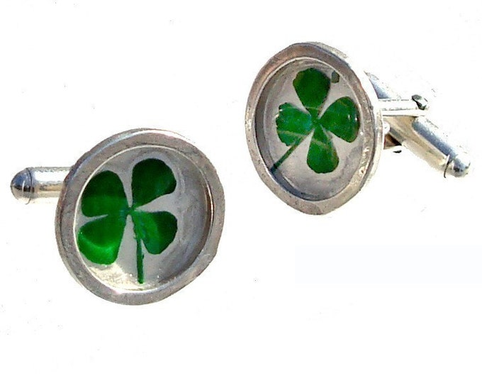 4 leaf clover cuff links Birthday or Father's day gifts