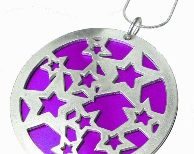 Large reversible Stars pendant with Fuchsia front and Orange back