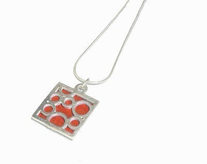 Sterling Silver Necklace of Small Square Orange Bubbles