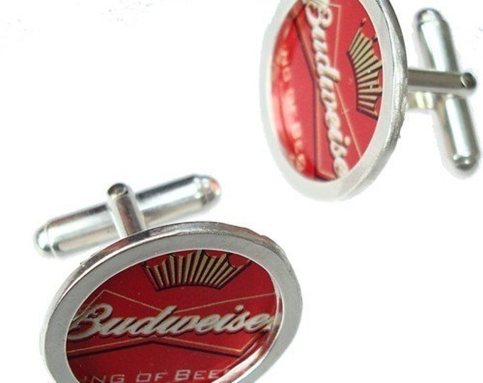 Budweiser Bottle Cap Cufflinks / Sterling Silver