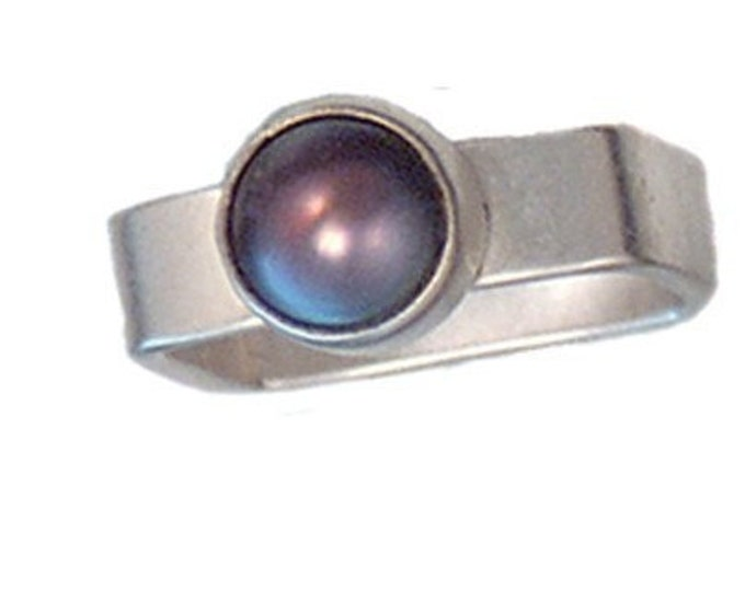 Brown Pearl Ring for valentine's day gifts on a Square Sterling Silver Band