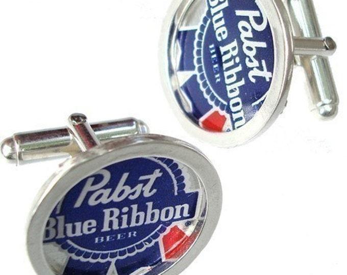 PBR Bottle Cap/ Sterling Silver cuff links