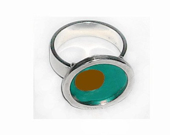 TWO TONE aqua/brown silver,recycled aluminum rings