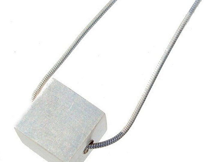 Large Sterling Silver Cube Pendant