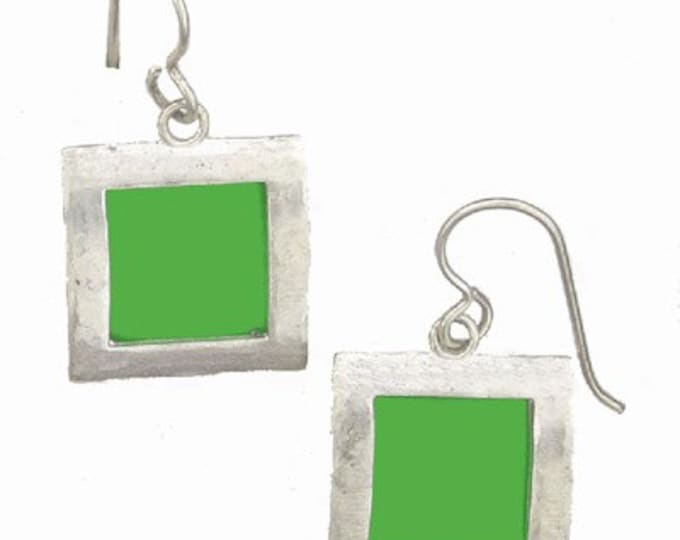 recycled aluminum/silver Lime square earrings