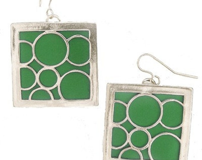 large green square bubble earrings