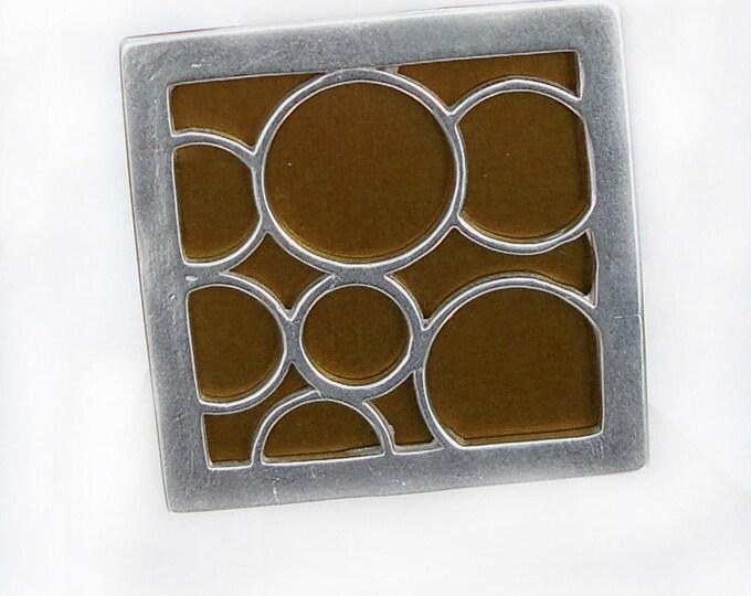 Super Size square bubble ring in brown