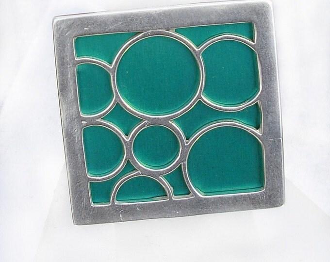 Super Size square bubble ring in aqua