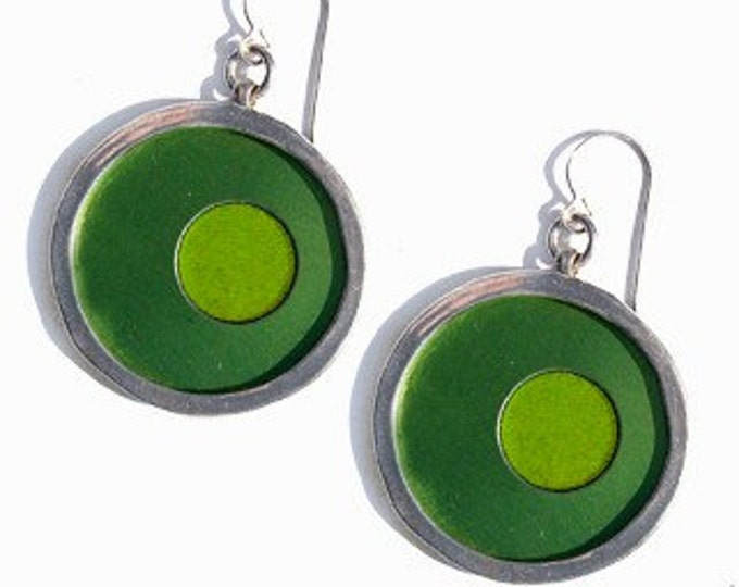 recycled aluminum/silver earrings in green and lime