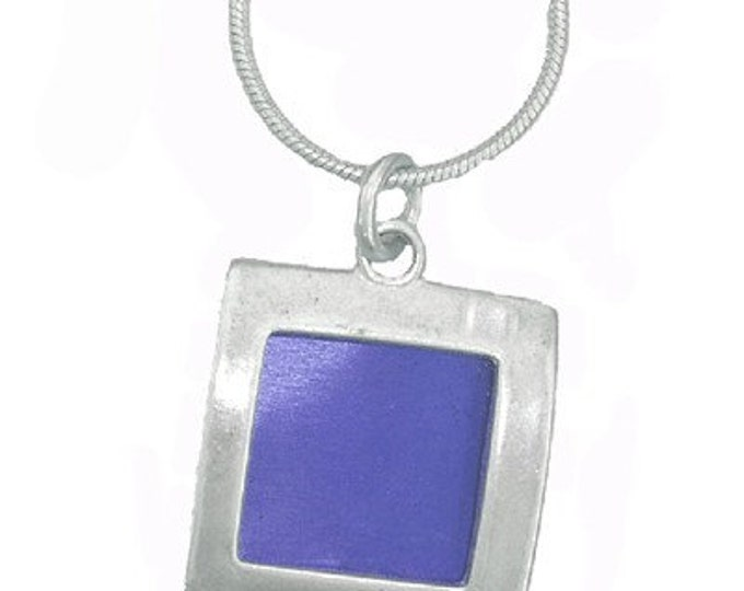 small square recycled aluminum\/silver pendant in blue