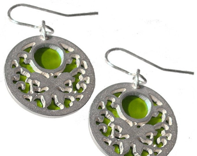 Reversible BUTTERFLY Earrings with Lime front and Jet back