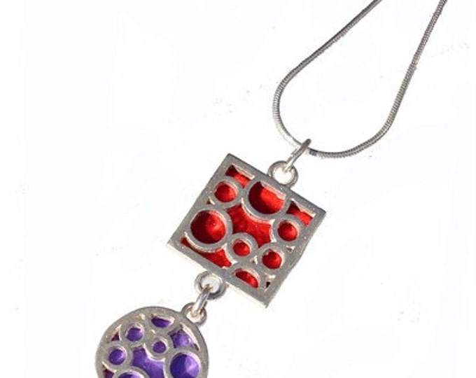 Sterling silver necklace of Mix Bubbles red and purple