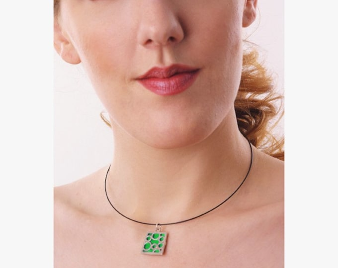 Medium Square Green Bubble pendant