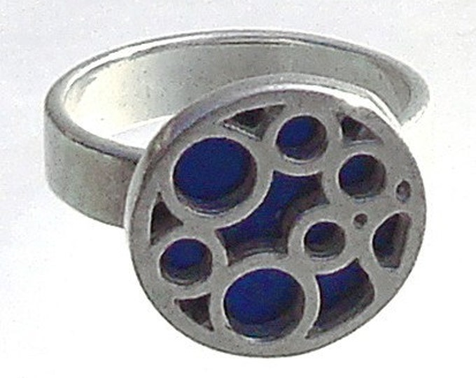Small Round Bubble Ring in Blue