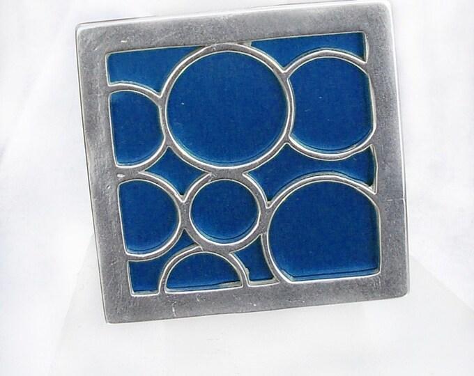 Super Size square bubble ring in blue