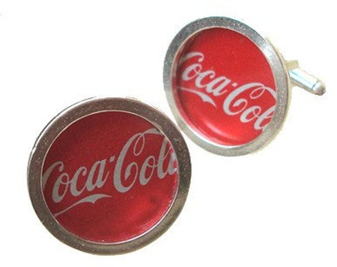 Coca Cola bottle cap cufflinks in sterling silver/Fathers Day/groomsmen gifts