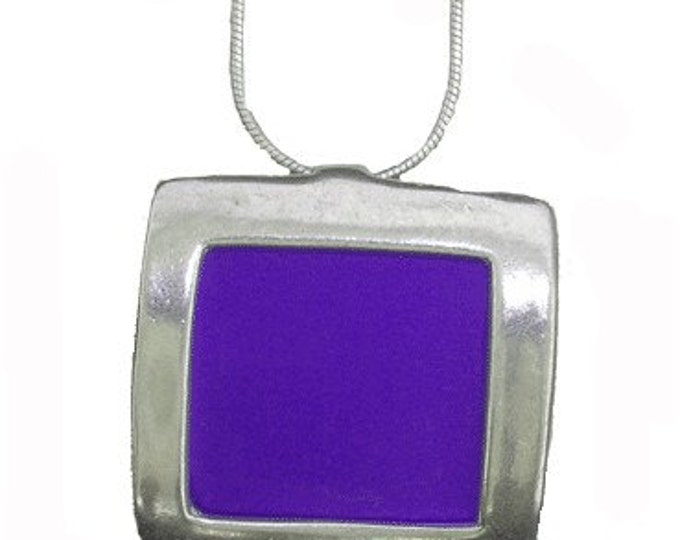 recycled aluminum\/silver Purple square pendant