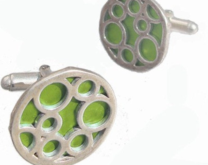 Birthdays, Graduate or Fathers Day Lime bubble cufflinks