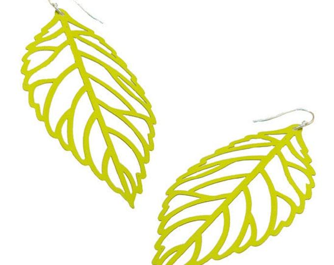 Enameled Filigree Leaf Earrings in Lime Green