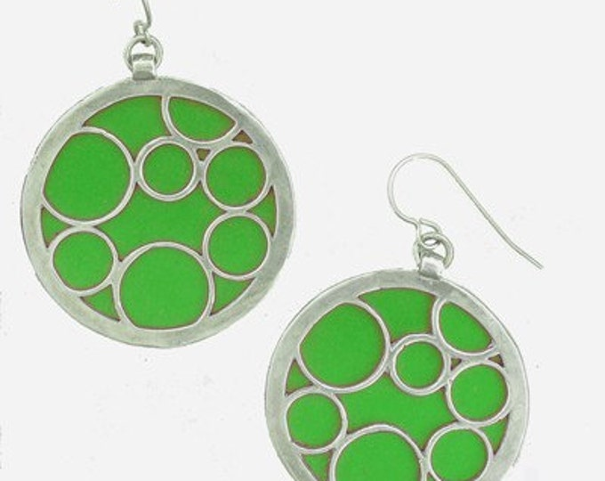 large green round bubble earrings