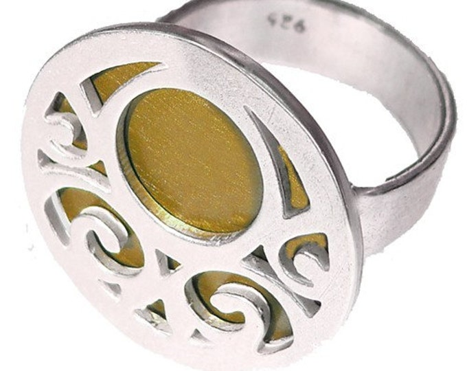 ON SALE SWIRLS ring of recycled aluminum/sterling silver in Brown