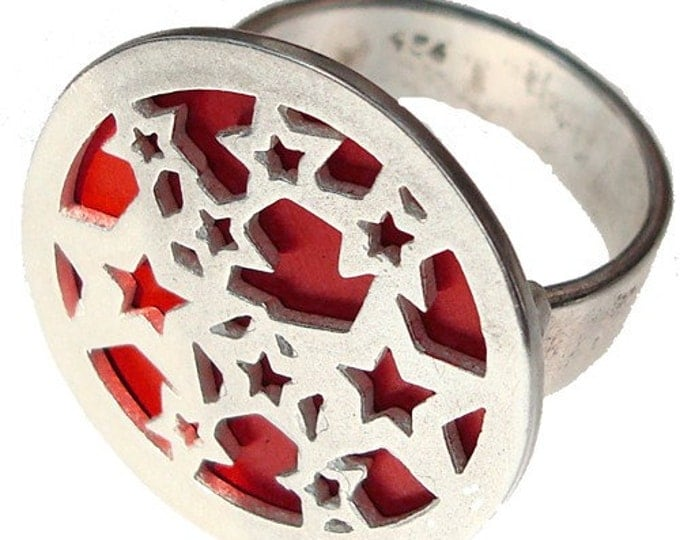 STARS ring of recycled aluminum/sterling silver in Red