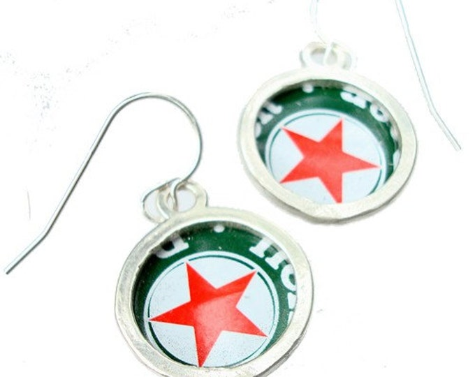 Beer Bottle Cap/ Sterling Silver Earrings