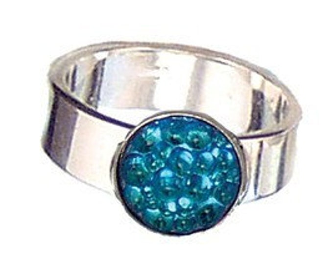 Caviar Roe Aqua Glass and sterling silver ring