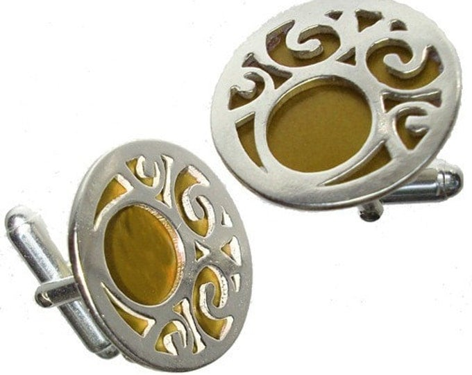 Silver Swirls Cuff links in Brown recycled aluminum