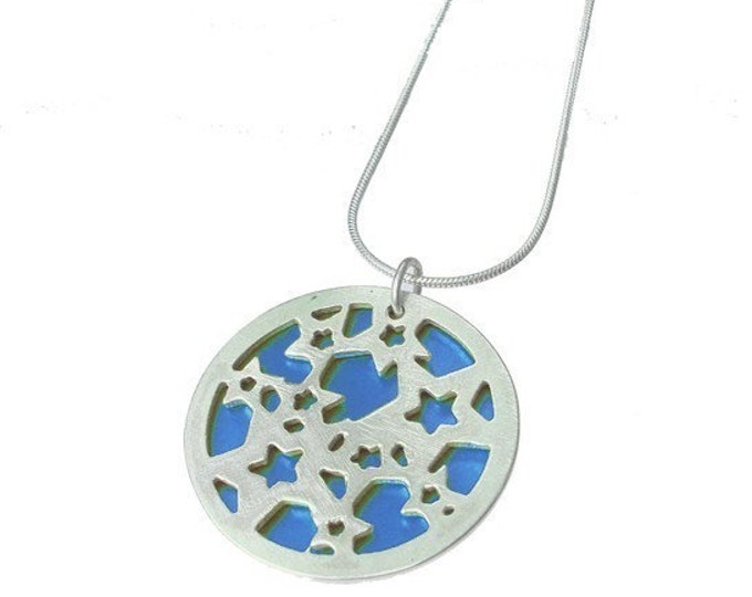 Small reversible Stars pendant with BLUE front and GREEN back