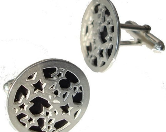 Silver Star Cuff links in black recycled aluminum