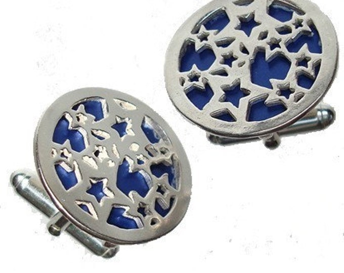 Silver Star Cuff links in Blue recycled aluminum