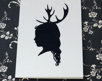Custom Silhouette Antler Christmas Card Set