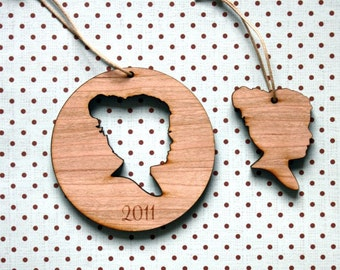 Personalized Silhouette Wood Christmas Ornaments made from your photo by Simply Silhouettes