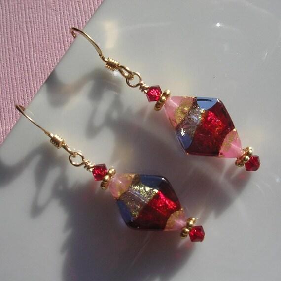Murano jazzy tri color diamond shaped earrings