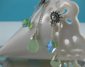 RESERVED FOR HILA               Peridot Green Swarovski Crystal and Chalcedony Earrings