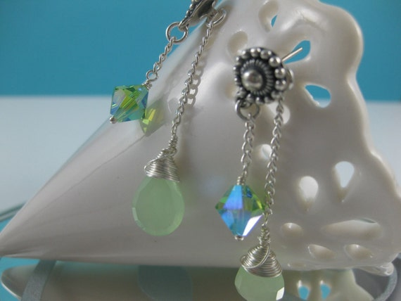 RESERVED FOR HILA               Peridot Green Swarovski Crystal and Chalcedony Earrings