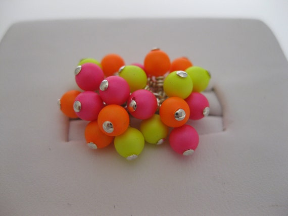 Neon Pink Orange and Yellow Swarovski Pearl Cluster Ring