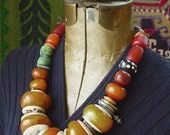 5 Treasuries African Tribal Amber resin Beads collection necklace