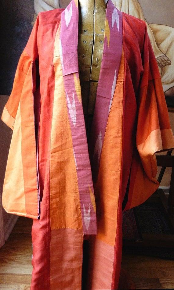 TREASURED Luscious Pomegranate and Persimmon, vintage silk kimono