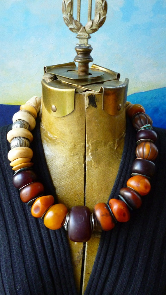 Treasury Item Ethnographic Chunky Tribal beads trophy necklace