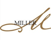 Last Name and Monogram Decal Wall Art