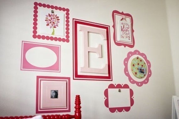 Dorm Room Wall Decor Etsy : Items similar to scallop picture frames set of vinyl