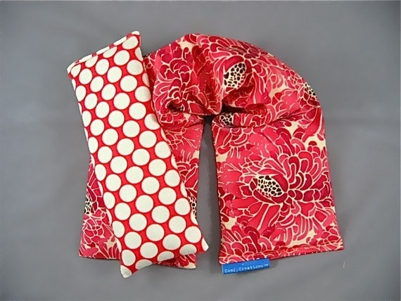 Therapeutic Neck Wrap Eye Pillow Set Flaxseed and Rice  Lavender Scented designer Tina Givens Zazu Petals in Raspberry Fabric
