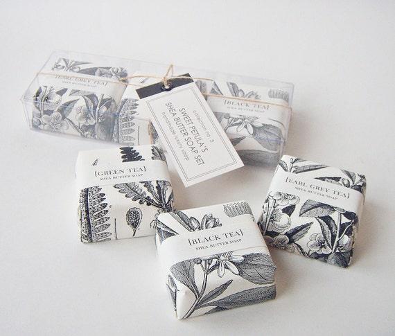 tea time shea butter soap set gift boxed. Black Bedroom Furniture Sets. Home Design Ideas